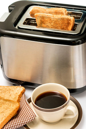 meal time: Coffee And Toast Representing Meal Time And Toasts
