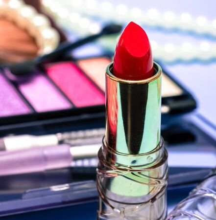makeups: Red Lipstick Showing Make Ups And Beauty Stock Photo