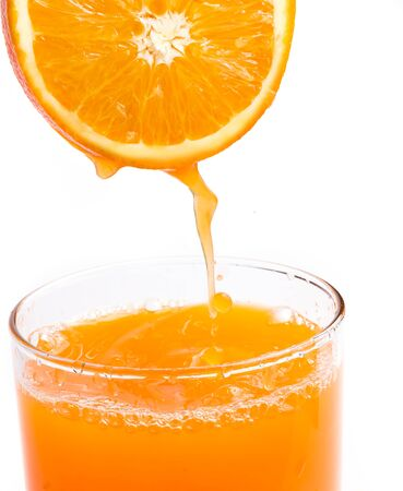 squeezed: Orange Juice Squeezed Showing Healthy Eating And Drink