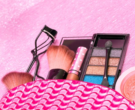 makeups: Eye Shadow Meaning Makeup Brush And Curls Stock Photo
