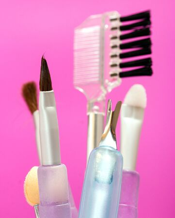 makeups: Different Makeup Brushes Meaning Beauty Products And Makeups Stock Photo