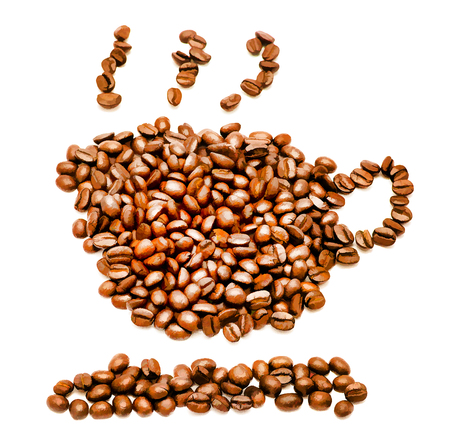 hot coffees: Coffee Cup Beans Showing Hot Drink And Break