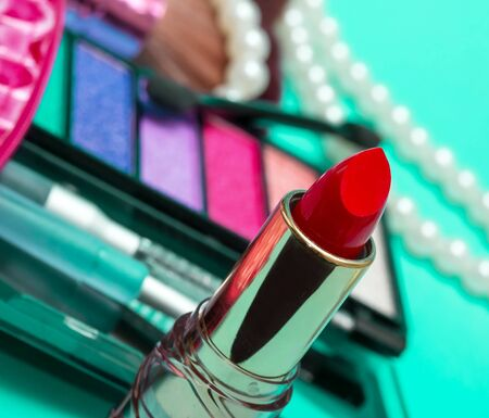 makeups: Red Lipstick Representing Beauty Products And Make-Ups