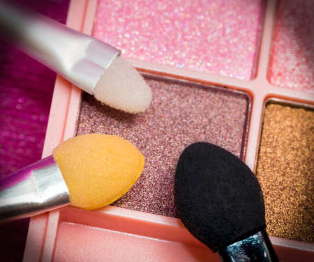 makeups: Eye Shadow Brushes Indicating Beauty Products And Applicator Stock Photo