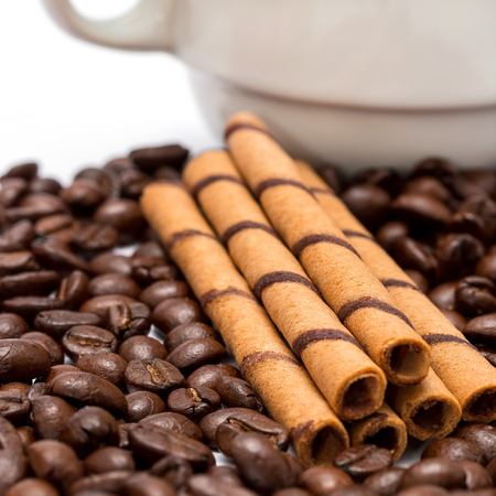 decaf: Coffee And Beans Representing Decaf Fresh And Espresso Stock Photo
