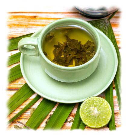 refreshes: Lime Green Tea Representing Cafeteria Drink And Citrus Stock Photo