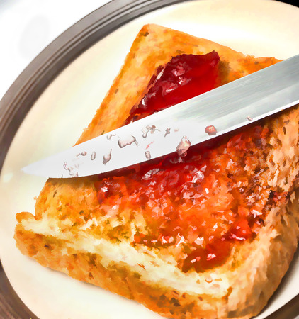preserves: Jam On Toast Indicating Fruits Preserves And Sweet