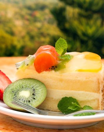 gateau: Strawberry Fruit Gateau Showing Fresh Cream Cake And Fresh Cream Cake