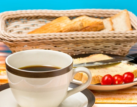 coffee breaks: Breakfast Black Coffee Indicating Morning Meal And Restaurants Stock Photo