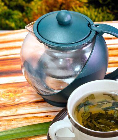 refreshment: Green Tea Break Indicating Drinks Refreshment And Beverage