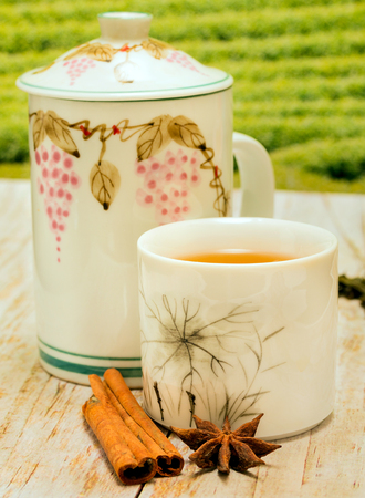 tea breaks: Tea With Cinnamon Showing Spices Refreshed And Teacups