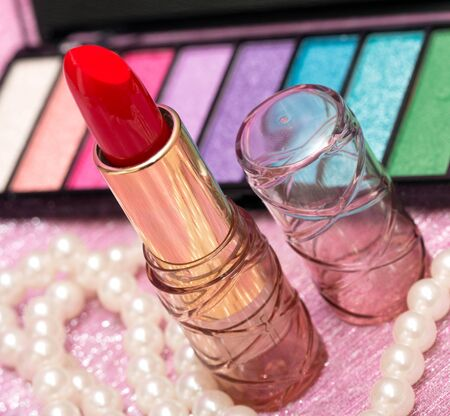 makeups: Cosmetic Lipstick Indicating Beauty Product And Makeups