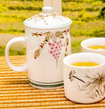 refreshes: Green Tea Break Meaning Fresh Drinks And Breaks Stock Photo