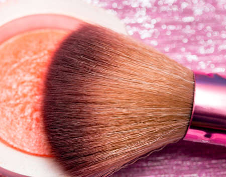 makeups: Makeup Brush Showing Beauty Products And Facial