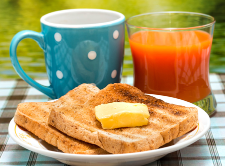coffee breaks: Outdoor Breakfast Toast Showing Morning Meal And Restaurants