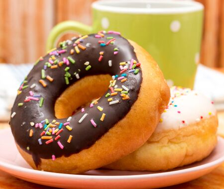 fatty food: Coffee And Doghnuts Representing Fatty Food And Cake Stock Photo