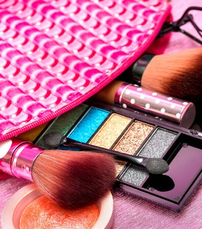 makeups: Cosmetic Makeups Indicating Beauty Products And Facial Stock Photo