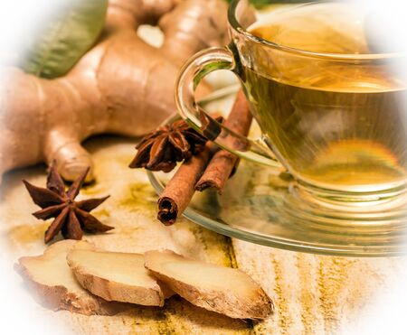 spiced: Spiced Ginger Tea Indicating Natural Refreshments And Beverage