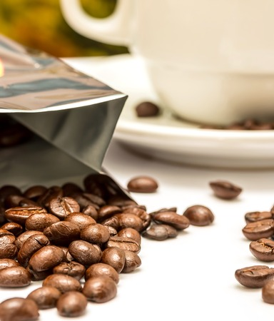 hot coffees: Coffee Beans Showing Hot Drink And Aromatic Stock Photo