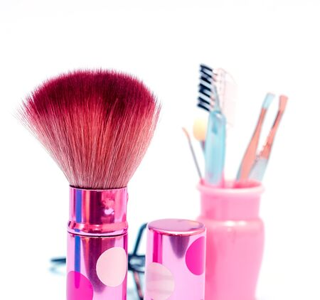 makeups: Soft Makeup Brush Meaning Beauty Product And Cosmetic Stock Photo