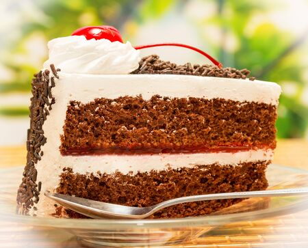 gateau: Black Forest Gateau Showing Chocolate Cake And Cherry