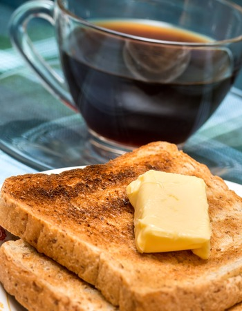 meal time: Breakfast Butter Toast Representing Meal Time And Coffee