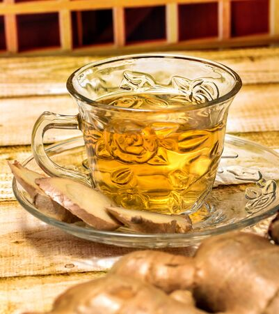 ginger tea: Refreshing Ginger Tea Representing Teas Organics And Spices