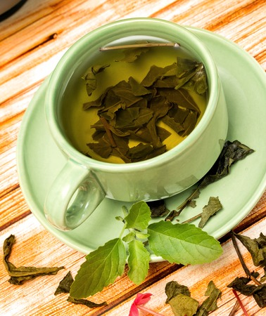 refreshes: Tea With Mint Meaning Cafeteria Cafes And Peppermint Stock Photo