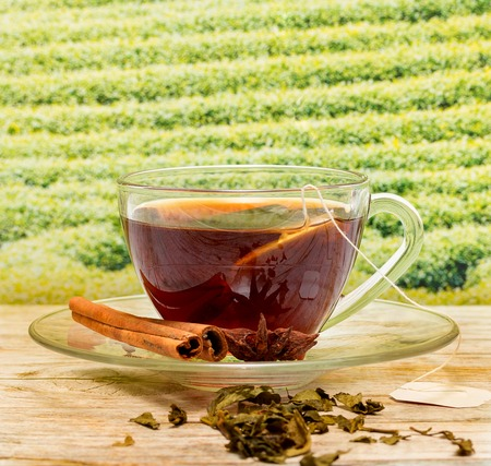 refreshes: Tea With Cinnamon Representing Break Time And Breaktime Stock Photo