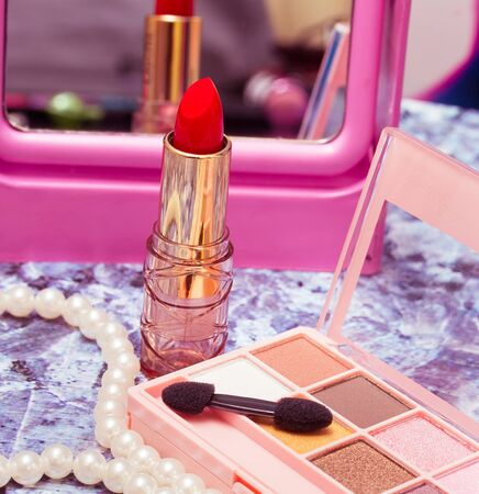 beauty product: Makeup And Lipstick Showing Beauty Product And Make-Up Stock Photo