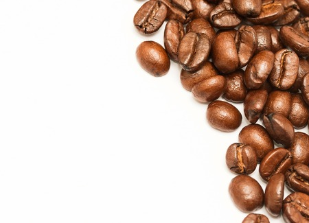 hot coffees: Coffee Beans Showing White Space And Copy