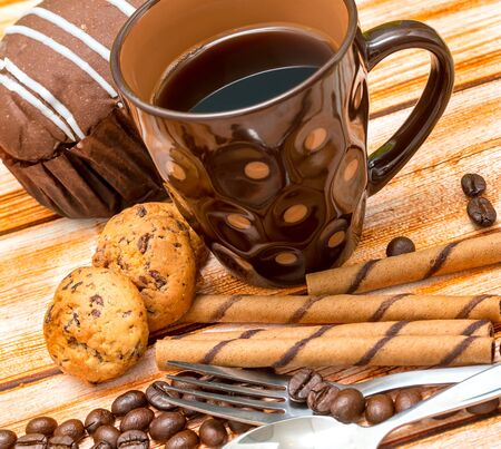 decaf: Coffee Biscuits Relax Indicating Cookies Decaf And Coffees Stock Photo