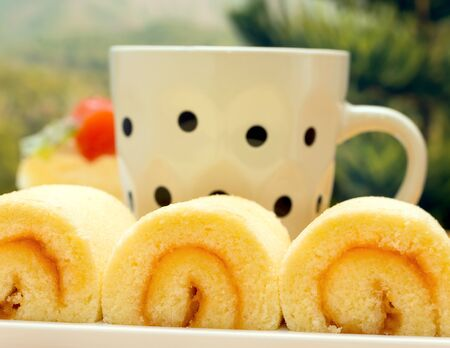decaf: Orange Cakes Coffee Meaning Swiss Roll And Decaf