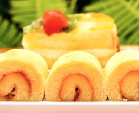 gateau: Moist Strawberry Cake Indicating Fresh Cream Gateau And Fresh Cream Gateau Stock Photo