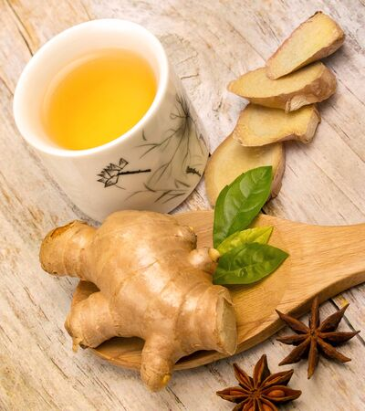 ginger tea: Japanese Ginger Tea Indicating Refreshed Herbal And Spices