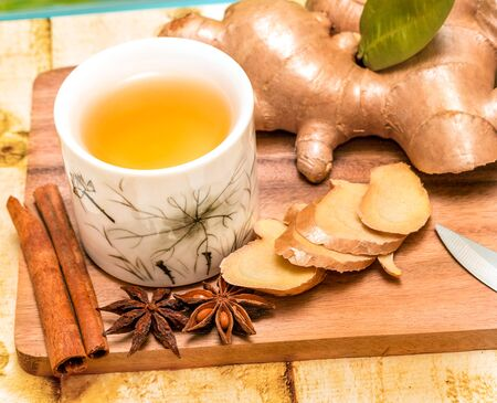 spiced: Refreshing Ginger Tea Meaning Spiced Teacup And Spice