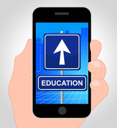 educated: Education Smartphone Showing Studying 3d Illustration