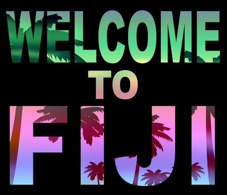 fijian: Welcome To Fiji Indicating Fijian Vacations And Invitation Stock Photo