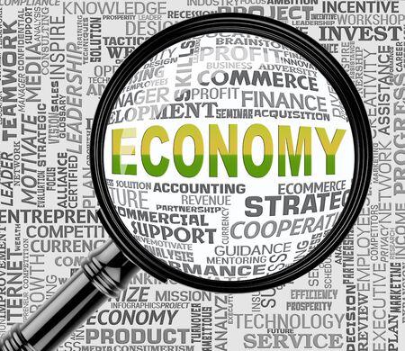 economizing: Economy Magnifier Showing Micro Economics 3d Rendering