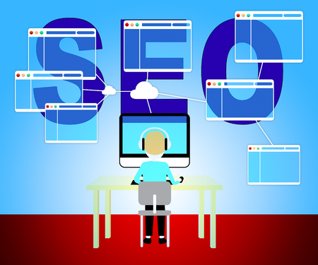 emarketing: Seo Marketing Showing Search Engine 3d Illustration