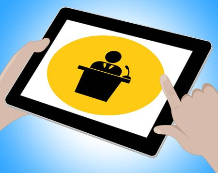 forums: Seminar Tablet Indicating Forum Online 3d Illustration Stock Photo