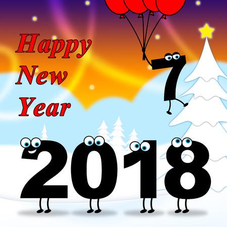 twenty: Twenty Eighteen Indicating 2018 New Year 3d Illustration