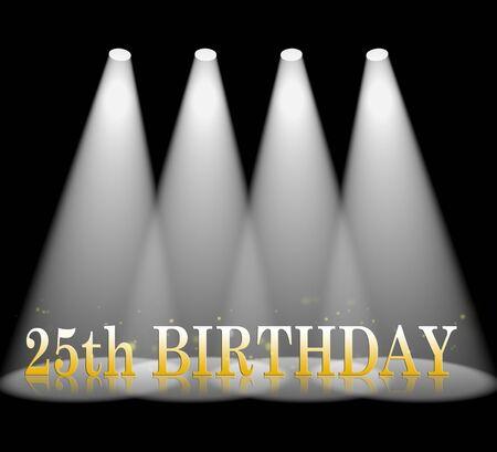 fifth: Twenty Fifth Birthday Or 25th Celebrations 3d Illustration