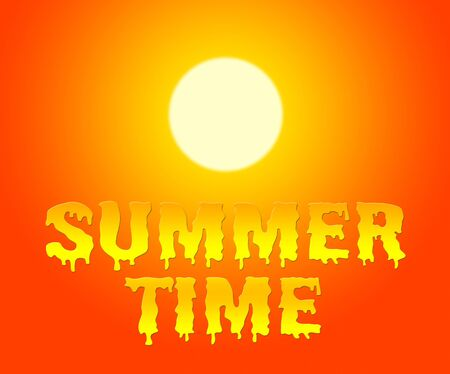 presently: Summer Time Representing Holiday And Vacation Now Stock Photo