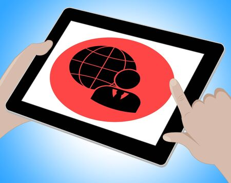 businesses: Business Globe Tablet Meaning Www Businesses 3d Illustration Stock Photo