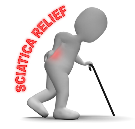 relieving pain: Sciatica Relief Meaning Spinal Pain Easing 3d Rendering
