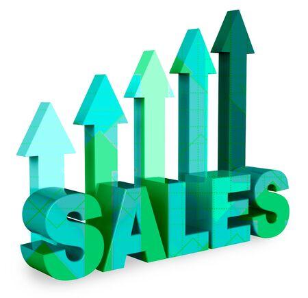 vend: Sales Arrows Indicating Market Commerce 3d Rendering