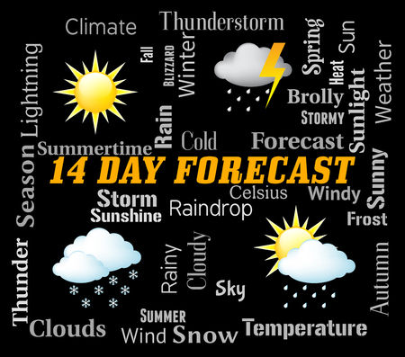 forecaster: Fourteen Day Forecast Representing Two Weeks Forecasting Stock Photo