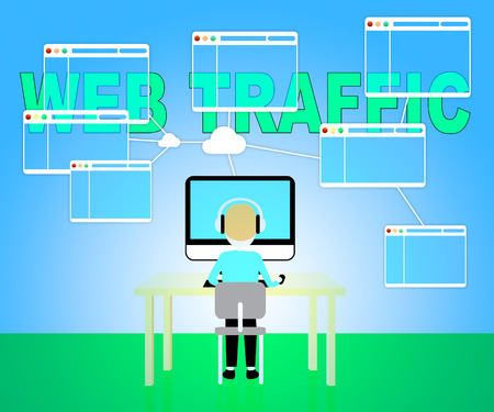 hits: Web Traffic Indicating Seo Optimization 3d Illustration Stock Photo
