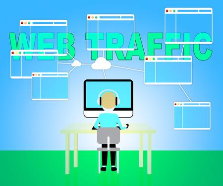 indicating: Web Traffic Indicating Seo Optimization 3d Illustration Stock Photo
